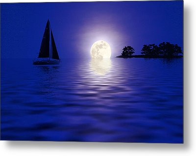 Sailing Into The Moonlight Metal Print