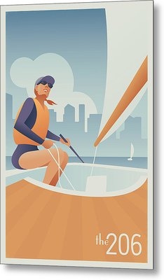 Sailing Lake Union In Seattle Metal Print by Mitch Frey