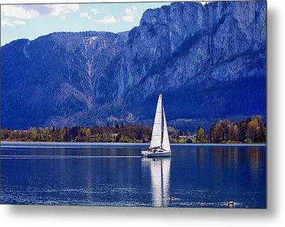 Sailing On Mondsee Lake Metal Print by Lauri Novak