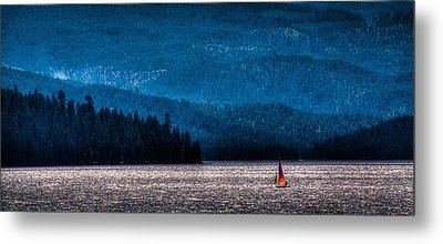 Sailing Priest Lake Metal Print by David Patterson