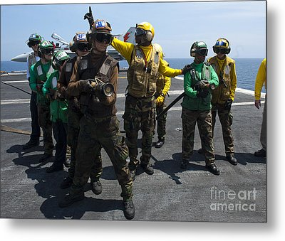 Sailors Fight A Simulated Fire Drill Metal Print by Stocktrek Images