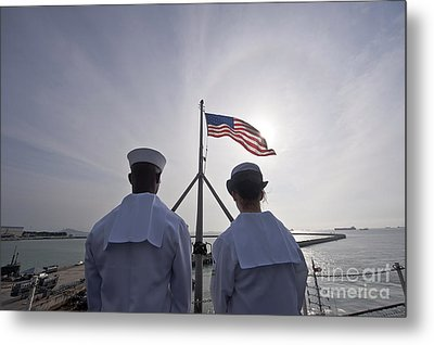 Sailors Stand By To Lower The Ensign Metal Print by Stocktrek Images