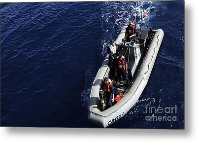 Sailors Stand Watch On A Rigid-hull Metal Print by Stocktrek Images