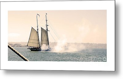 Sails And Cannons Metal Print by MaryJane Armstrong