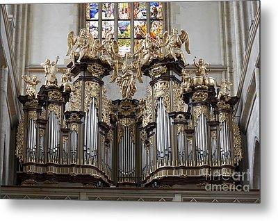 Saint Barbara Church - Organ Loft And Stained Glass In The Churc Metal Print by Michal Boubin