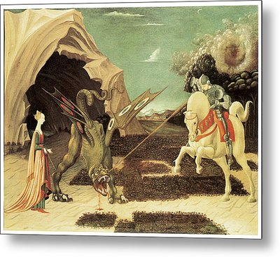 Saint George And The Dragon Metal Print by Paolo Uccello
