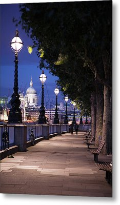 Saint Paul's Cathedral As Seen From The Queen's Walk Along The Thames River In London.  2007. Metal Print by Uyen Le
