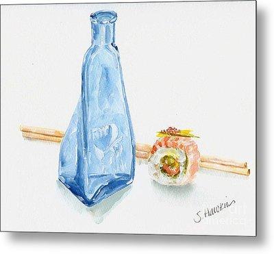 Sake And Sushi Metal Print by Sheryl Heatherly Hawkins