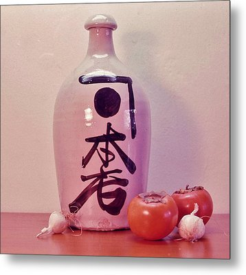 Metal Print featuring the photograph Sake Jug With Persimmon And Garlic by Craig Wood