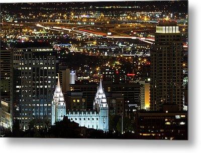 Salt Lake Temple Metal Print by Photo by Jim Boud