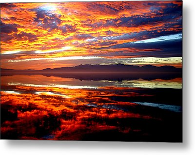 Salton Sea Sunset Number One Metal Print