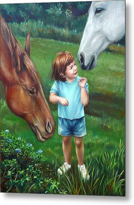 Metal Print featuring the painting Samantha Becomes An Equestrian by Nancy Tilles