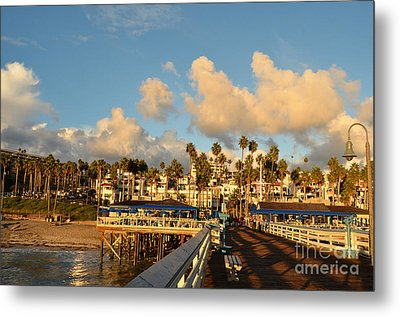 San Clement Pier And Coast Metal Print by Timothy OLeary