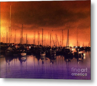 Metal Print featuring the digital art San Diego Harbor Midnight Moon by Rhonda Strickland