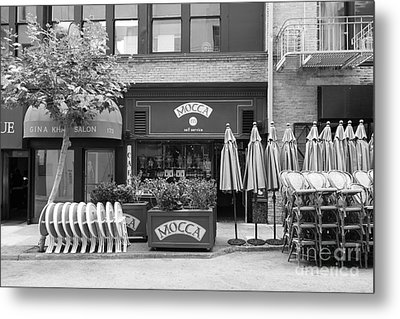 San Francisco - Maiden Lane - Mocca Cafe - 5d17788 - Black And White Metal Print by Wingsdomain Art and Photography