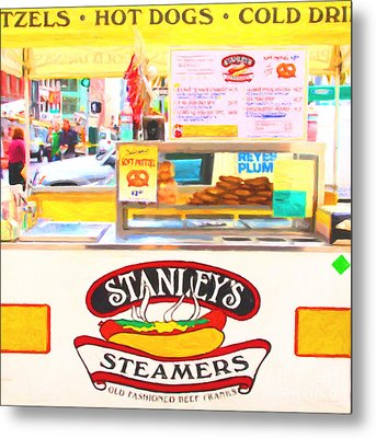 San Francisco - Stanley's Steamers Hot Dog Stand - 5d17929 - Square - Painterly Metal Print by Wingsdomain Art and Photography