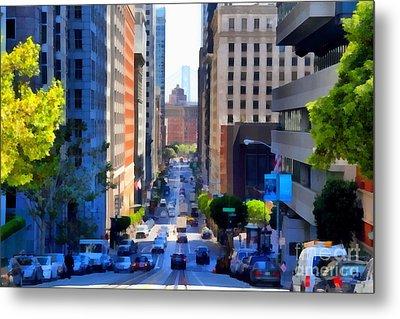 San Francisco California Street  . 7d7186 Metal Print by Wingsdomain Art and Photography