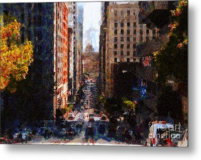 San Francisco California Street  . Painterly . 7d7186 Metal Print by Wingsdomain Art and Photography