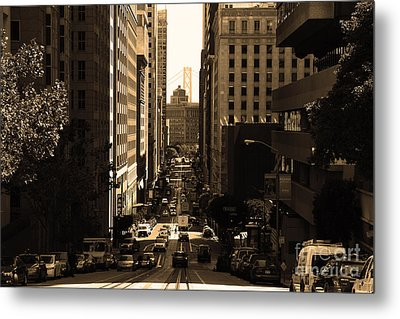 San Francisco California Street . Sepia . 7d7186 Metal Print by Wingsdomain Art and Photography