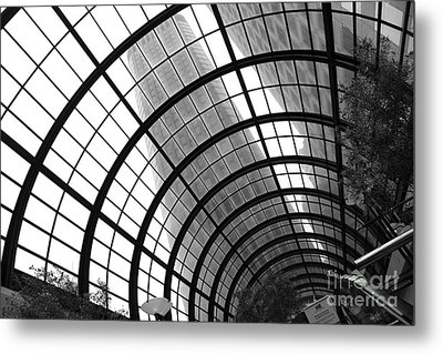 San Francisco Crocker Galleria - 5d17869 - Black And White Metal Print by Wingsdomain Art and Photography