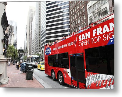 San Francisco Double Decker Tour Bus On Market Street - 5d17844 Metal Print by Wingsdomain Art and Photography