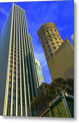 San Francisco Financial District Metal Print by Linda Edgecomb