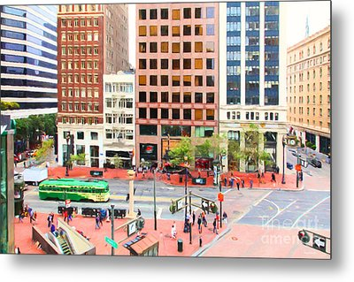 San Francisco Market Street - 5d17877 - Painterly Metal Print by Wingsdomain Art and Photography