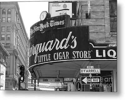 San Francisco Marquard's Little Cigar Store Powell And O'farrell Streets - 5d17954 - Black And White Metal Print by Wingsdomain Art and Photography