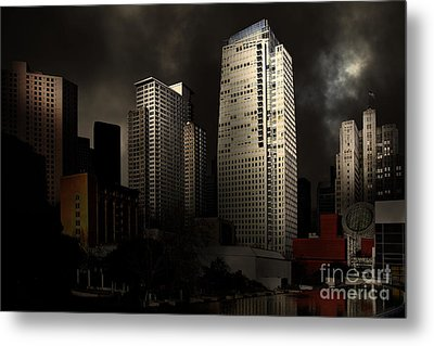 San Francisco Nights At The Yerba Buena Garden . 7d4262 Metal Print by Wingsdomain Art and Photography