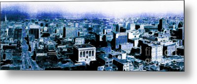 San Francisco Skyline Panorama 1909 From The Ferry Building Through South Of Market . Blue Metal Print by Wingsdomain Art and Photography
