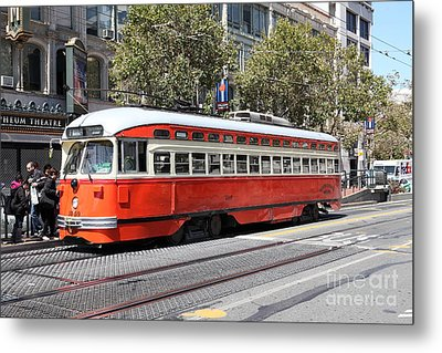 San Francisco Streetcar At The Orpheum Theatre - 5d17999 Metal Print by Wingsdomain Art and Photography