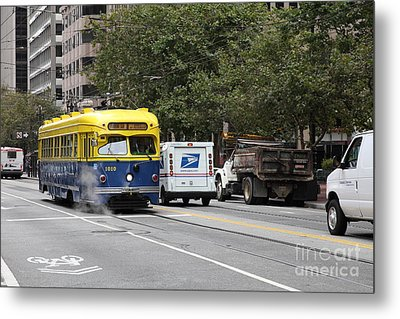 San Francisco Vintage Streetcar On Market Street - 5d17849 Metal Print by Wingsdomain Art and Photography