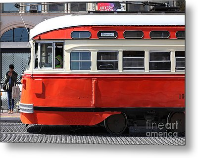 San Francisco Vintage Streetcar On Market Street - 5d18001 Metal Print by Wingsdomain Art and Photography