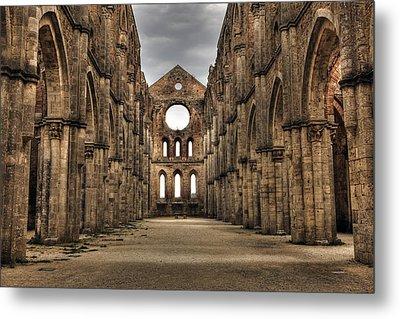San Galgano  - A Ruin Of An Old Monastery With No Roof Metal Print by Joana Kruse