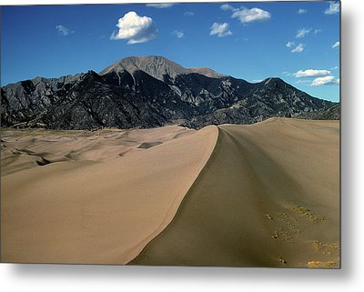 Sand Dunes With Mount Blanca Metal Print