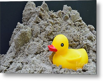 Sand Pile And Ducky Metal Print
