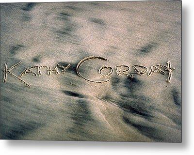 Sandscript Metal Print by Kathy Corday