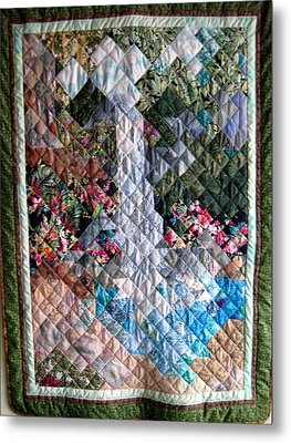 Santa Amelia Waterfall Quilt Metal Print by Sarah Hornsby