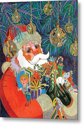 Santa And Gifts Metal Print by Bob Coonts