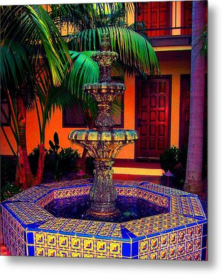 Santa Barbara Fountain Metal Print by Ann Johndro-Collins