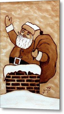 Santa Claus Gifts Original Coffee Painting Metal Print by Georgeta  Blanaru