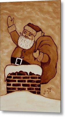 Santa Claus Is Coming Metal Print by Georgeta  Blanaru