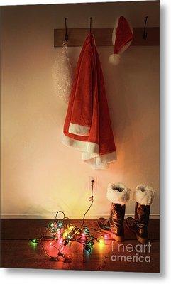 Santa Costume Hanging On Coat Hook With Christmas Lights Metal Print by Sandra Cunningham