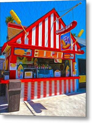 Santa Cruz Boardwalk - Hot Dog Stand Metal Print by Gregory Dyer