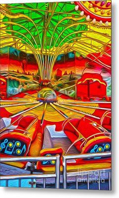 Santa Cruz Boardwalk - That Ride That Makes You Sick Metal Print by Gregory Dyer