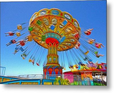 Santa Cruz Boardwalk - Tilt-a-whirl - 04a Metal Print by Gregory Dyer