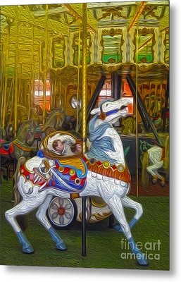 Santa Cruz Boardwalk Carousel Horse Metal Print by Gregory Dyer