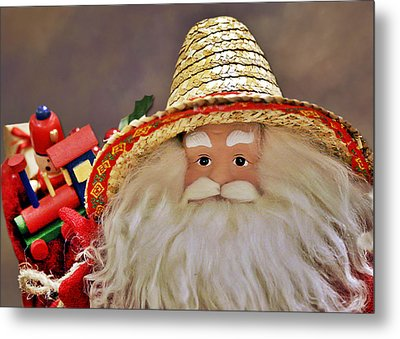Santa Is A Gardener Metal Print by Christine Till