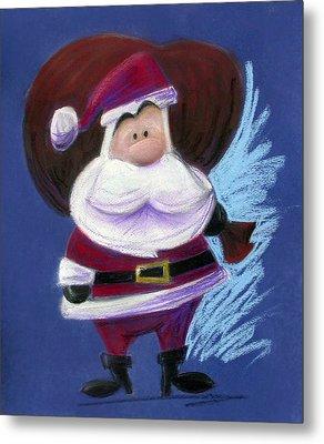 Santa With His Pack Metal Print