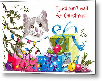 Santa's Helper Greetings Metal Print